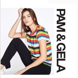 Pam & Gela Rainbow Striped T-shirt Size L